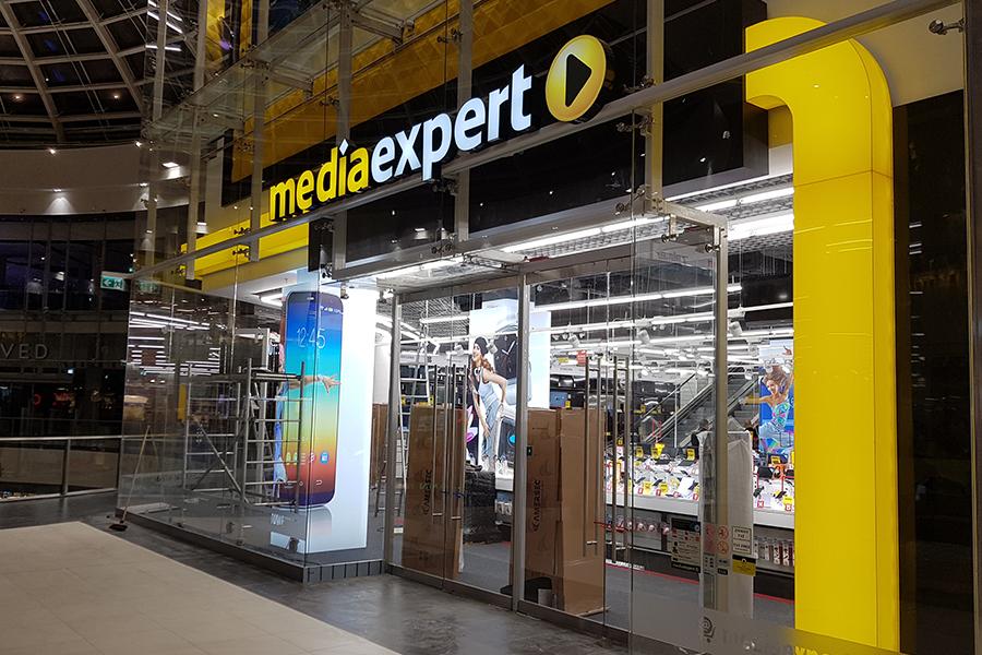 Oznakowanie zewnętrzne i wewnętrzne – Media Expert Szczecin Centrum Galaxy