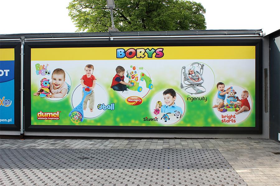 Portal wejściowy z logotypem oraz banery reklamowe – Borys Zabawki Jarocin