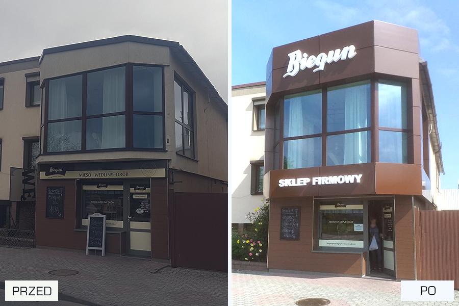 Panele elewacyjne, logotyp, podświetlane litery przestrzenne – Biegun Jaraczewo